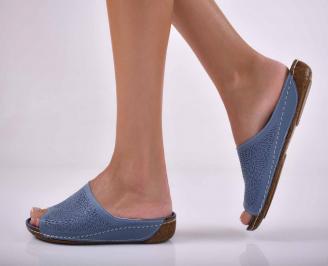Дамски равни чехли естествена кожа сини EOBUVKIBG