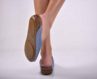 Дамски равни чехли естествена кожа сини EOBUVKIBG 3