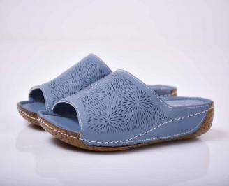 Дамски чехли гигант естествена кожа сини EOBUVKIBG