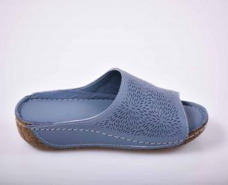 Дамски чехли гигант естествена кожа сини EOBUVKIBG 3