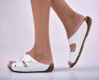 Дамски равни чехли естествена кожа бели EOBUVKIBG