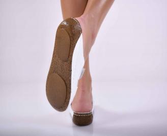 Дамски равни чехли естествена кожа бели EOBUVKIBG 3
