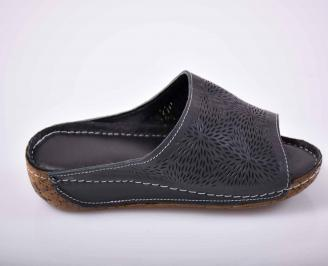 Дамски чехли гигант естествена кожа черен EOBUVKIBG 3