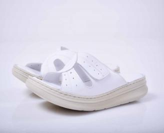 Дамски чехли гигант естествена кожа бели EOBUVKIBG