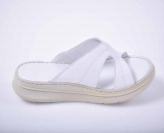 Дамски чехли гигант естествена кожа бели EOBUVKIBG 3