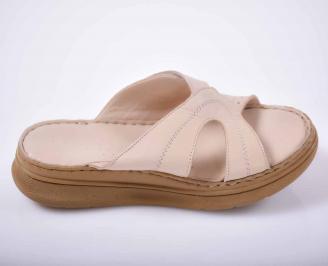 Дамски чехли гигант естествена кожа бежови EOBUVKIBG 3