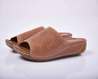 Дамски равни чехли естествена кожа кафяви EOBUVKIBG