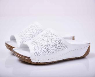 Дамски равни чехли гигант естествена кожа бели EOBUVKIBG