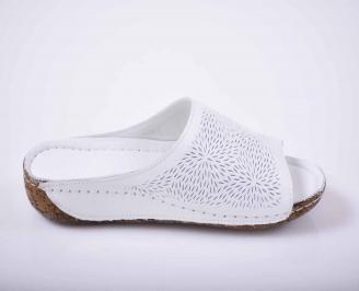 Дамски равни чехли гигант естествена кожа бели EOBUVKIBG 3