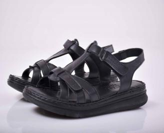 Дамски сандали гигант естествена кожа черен EOBUVKIBG