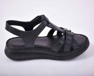 Дамски сандали гигант естествена кожа черен EOBUVKIBG 3