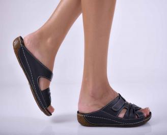 Дамски равни чехли естествена кожа черни EOBUVKIBG