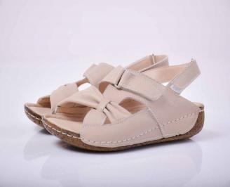 Дамски равни сандали гигант естествена кожа бежови EOBUVKIBG