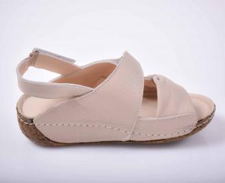 Дамски равни сандали гигант естествена кожа бежови EOBUVKIBG 3