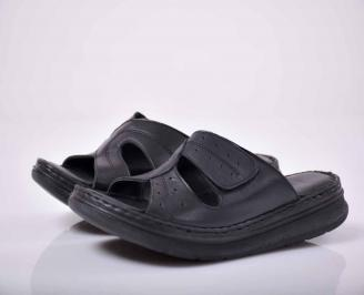 Дамски равни чехли гигант естествена кожа черни EOBUVKIBG