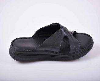 Дамски равни чехли гигант естествена кожа черни EOBUVKIBG 3