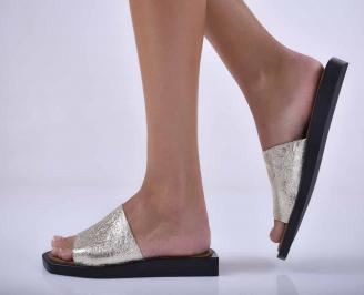 Дамски равни чехли естествена кожа бежови EOBUVKIBG