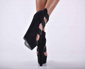 Дамски сандали на платформа черни EOBUVKIBG