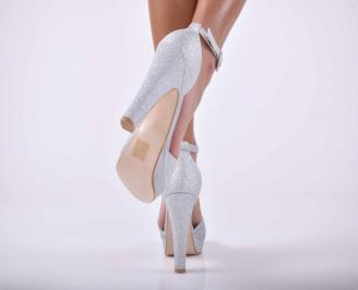 Дамски елегантни сандали ситен брокат сребристи EOBUVKIBG 3