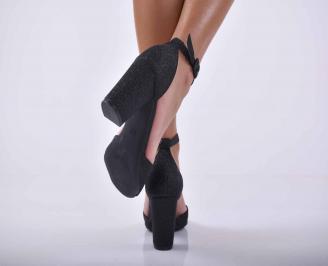 Дамски елегантни сандали ситен брокат черни EOBUVKIBG 3
