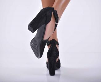 Дамски елегантни сандали текстил черни EOBUVKIBG