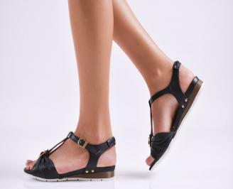Равни дамски сандали естествена кожа черни EOBUVKIBG
