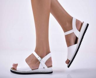 Дамски равни сандали Гигант естествена кожа бели EOBUVKIBG