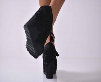 Дамски обувки на платформа черни EOBUVKIBG 3