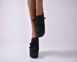 Дамски обувки на платформа черни EOBUVKIBG