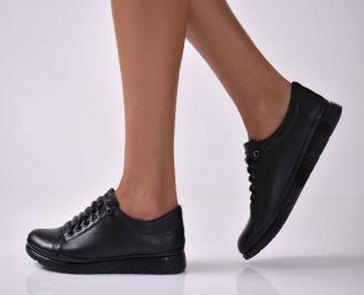 Дамски обувки равни естествена кожа черни EOBUVKIBG