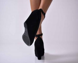 Дамски елегантни  обувки на платформа черни  EOBUVKIBG