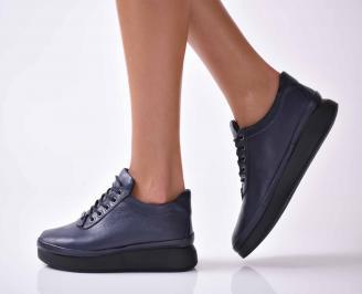 Дамски ежедневни обувки естествена кожа сини EOBUVKIBG