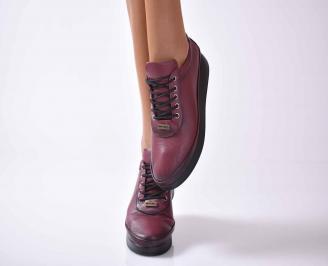 Дамски ежедневни обувки естествена кожа бордо EOBUVKIBG