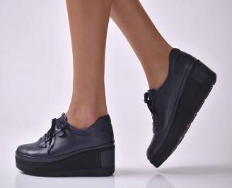Дамски  обувки на платформа  естествена кожа сини EOBUVKIBG