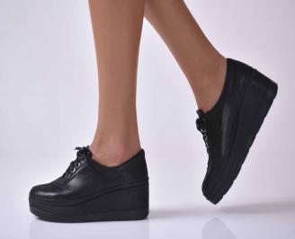 Дамски  ежедневни обувки на платфорна естествена кожа черни EOBUVKIBG