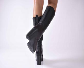 Дамски елегантни ботуши естествена кожа черни  EOBUVKIBG