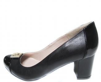 Дамски елегантни обувки естествена кожа черни