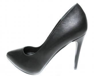 Дамски елегантни обувки на ток естествена кожа черни