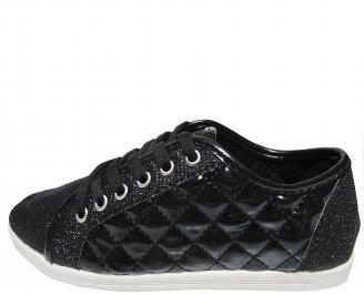 Дамски равни обувки еко кожа/лак черни