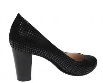 Дамски елегантни обувки на ток черни еко кожа