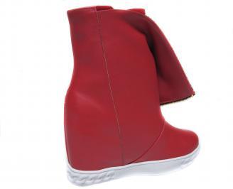 Дамски боти на платформа еко кожа червени 3