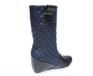 Дамски боти на платформа еко кожа тъмно сини 3