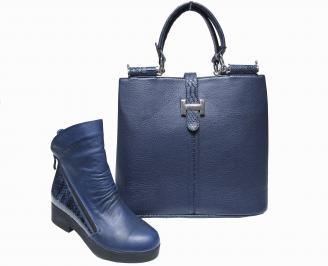 Комплект дамски боти и чанта естествена  кожа тъмно сини