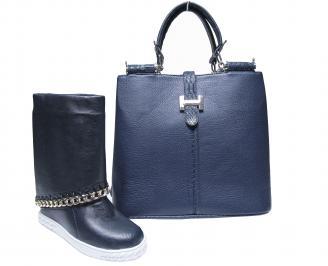 Комплект дамски боти/ботуши и чанта еко кожа тъмно сини