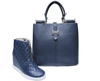 Комплект дамски боти и чанта еко кожа тъмно сини