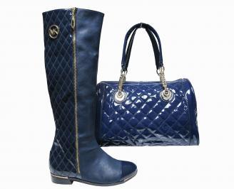 Комплект дамски ботуши и чанта еко кожа тъмно сини
