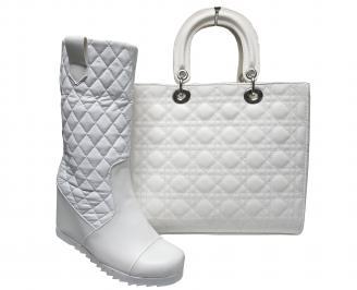 Комплект дамски боти и чанта еко кожа бели