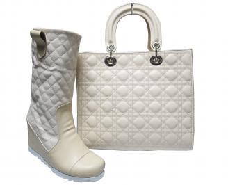 Комплект дамски боти и чанта еко кожа бежови