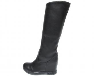 Дамски боти/ботуши на платформа еко кожа черни