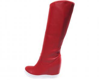 Дамски боти/ботуши на платформа еко кожа червени